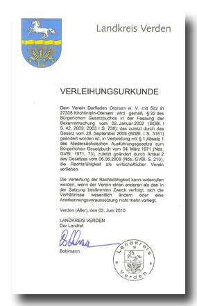 Verleihungsurkunde vom 3.6.2010_Verleihung der Rechtsfähigkeit Kopie
