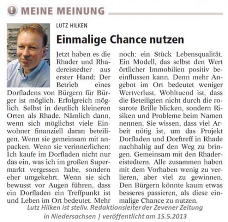Einmalige Chance nutzen_Meinung Zevener Zeitung_2013_05_15 Kopie