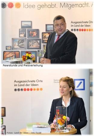 Dorfladen-Vorsitzender Günter Lühning und Juliane von Trotha (Deutschland - Land der Ideen)