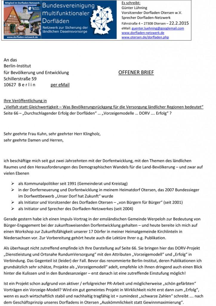 Offener Brief an BERLIN-INSTITUT_DORV als Vorzeigemodell_DORV_2015_02_22-1